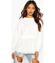 mesh ruffle sweatshirt, ivory