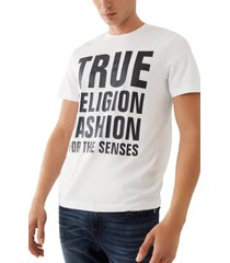 men's true religion brand jeans fashion for the senses stacked logo graphic tee, size x-large - white