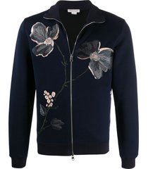 alexander mcqueen floral embroidered knit sweatshirt - blue