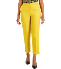 kasper petite linen cropped straight-leg pants