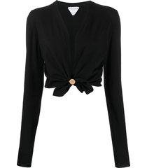 bottega veneta twisted cropped cardigan - black