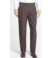 men's berle self sizer waist pleated classic fit dress pants, size 35 x unh - brown