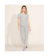 pijama feminino listrado e texturizado blusa manga curta branco