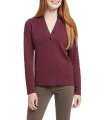 women's nic+zoe button knit top, size medium - burgundy