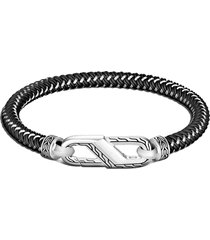 john hardy men's classic chain double woven rubber bracelet, size medium in black at nordstrom