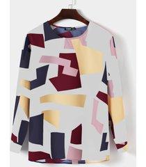 camiseta multicolor casual con estampado geométrico aleatorio de bloques de color para hombre