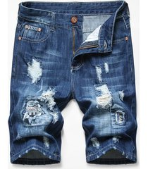 patchworks ripped decorated denim shorts