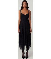 black fitted godet dress
