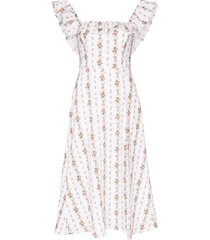 reformation amethyst ruffled floral-print dress - white
