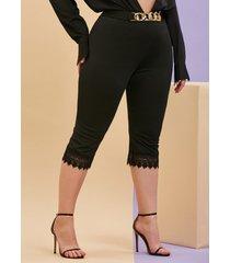 plus size lace panel chains capri leggings