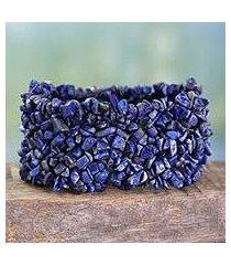 lapis lazuli stretch bracelet, 'mermaid song' (india)