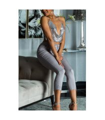 sexy hoge taille jeans cropped met kant details gray