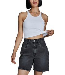 women's straight denim bermuda shorts