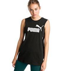 afgeknipte essentials+ tanktop voor dames, zwart, maat xxs | puma