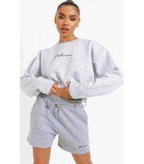 woman geborduurde korte sweater, ash grey