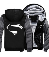 superman hoodie zip up jacket coat winter warm black and gray