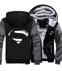 superman hoodie zip up jacket coat winter warm black and gray