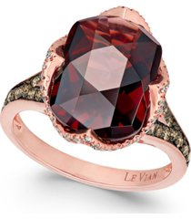 le vian chocolatier pomegranate garnet (6-9/10 ct. t.w.) and diamond (3/8 ct. t.w.) ring in 14k rose gold(also available in london blue topaz)