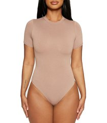 naked wardrobe jersey t-shirt bodysuit, size small in coco at nordstrom