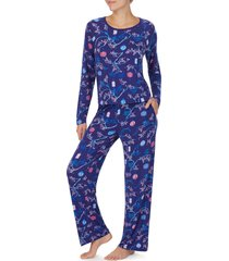 women's shady lady long sleeve pajamas, size small - blue