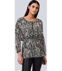 blouse alba moda antraciet::beige