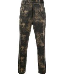 ann demeulemeester tie-dye trousers - brown