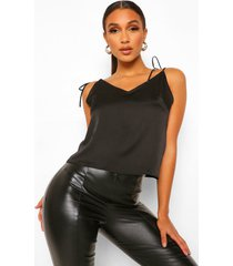 satijnen hemdje met gestrikte schouders en laag decolleté, black
