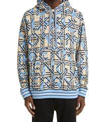 men's burberry lloyd logo check cotton hoodie, size small - blue