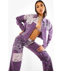 korte spijkerjas met bandana patches, purple