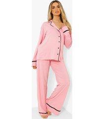 tall jersey met knopen pyjama set met broek, pink
