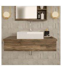 conjunto para banheiro bancada com cuba q39 quadrada city 800 carvalho dark