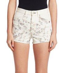 ellie floral denim shorts