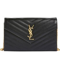 women's saint laurent large monogram quilted leather wallet on a chain - black