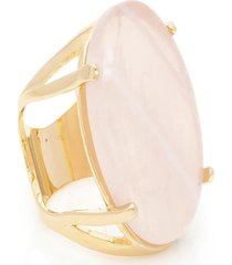 anel  oval  semijoia banho de ouro 18k pedra natural quartzo rosa