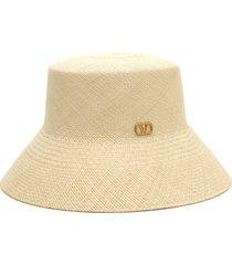 valentino garavani valentino straw bucket hat, size medium in naturale at nordstrom