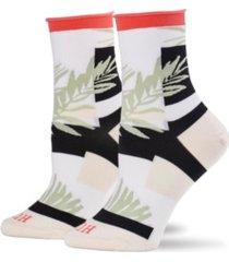 hue women's floral crew socks