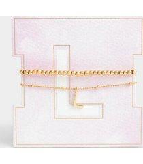 delicate initial bracelet set - l
