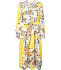 tory burch quilted yoke dress - yellow