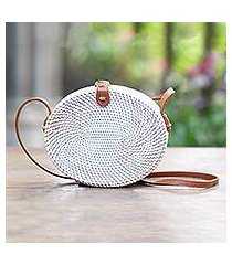 bamboo shoulder bag, 'white island oval' (indonesia)