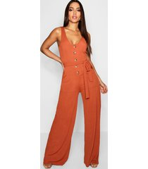 horn button ribbed tie belt pocket jumpsuit, burnt orange
