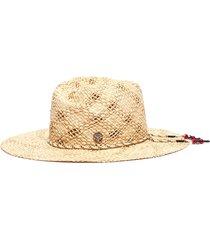 'rose' bead drawstring rafia straw fedora hat