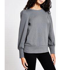 river island womens grey puff sleeve sweatshirt