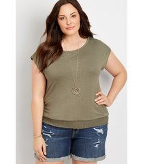 maurices plus size womens 24/7 solid smocked hem tee green