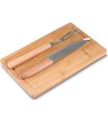 kit para churrasco 3 peã§as bambu topget - bege/ - dafiti