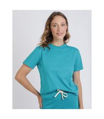 t-shirt feminina mindset manga curta decote redondo azul