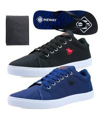 kit sapatenis casual neway polo energy azul + preto + 1 chinelo neway + 1 carteira