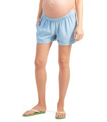 women's ingrid & isabel under belly elastic waist shorts, size x-large - blue