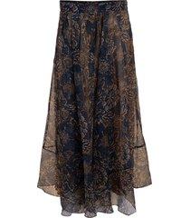 long print silk skirt
