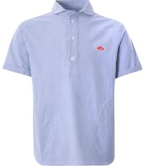 danton oxford cloth pullover short sleeve shirt   blue   jd3569yok-blu