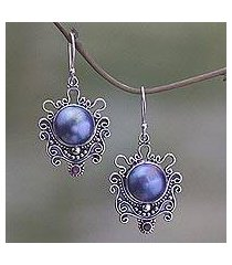 cultured pearl and garnet dangle earrings, 'bandung blue moon' (indonesia)